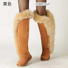 Gran estilo de la moda de alta calidad de cuero real de piel de zorro largo invierno botas de nieve para las mujeres botas del muslo invierno zapatos negro púrpura 35-44(China (Mainland))
