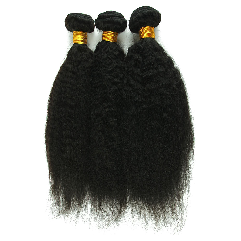 Crazyqueen 5A Virgin Brazilian Kinky Straight Hair Weaves 3 Bundles Unprocessed Human Straight Hair Weft Human Hair Products(China (Mainland))