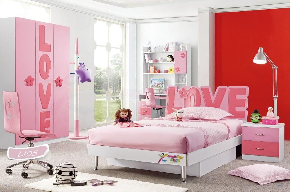 Hot Sale China Modern Lovely Kid Sets Furniture Girls Popular Pink Bedroom Se