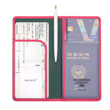 Popular Women & Men Fashion Faux Leather Travel Long Passport Holder Cover ID Card Bag Passport Wallet Protective Sleeve(China (Mainland))