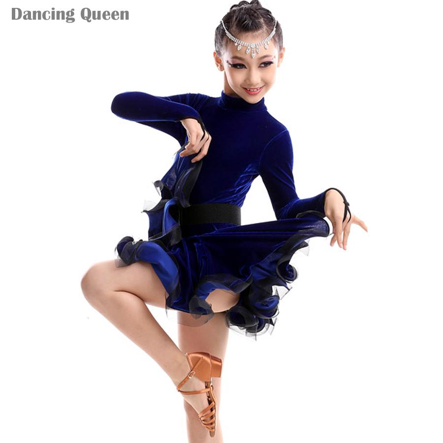 Filles de danse latine robes enfants costumes de danse - Danse de salon enfant ...