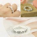 2016 Korean elastic bright silver plated imitation diamond rings Shining full rhinestone finger rings for women