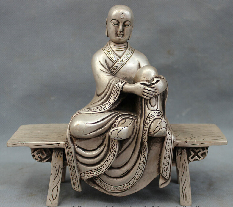 8 Quot Chinese Silver Buddhist 3 Eyes Arhat Monk Buddha