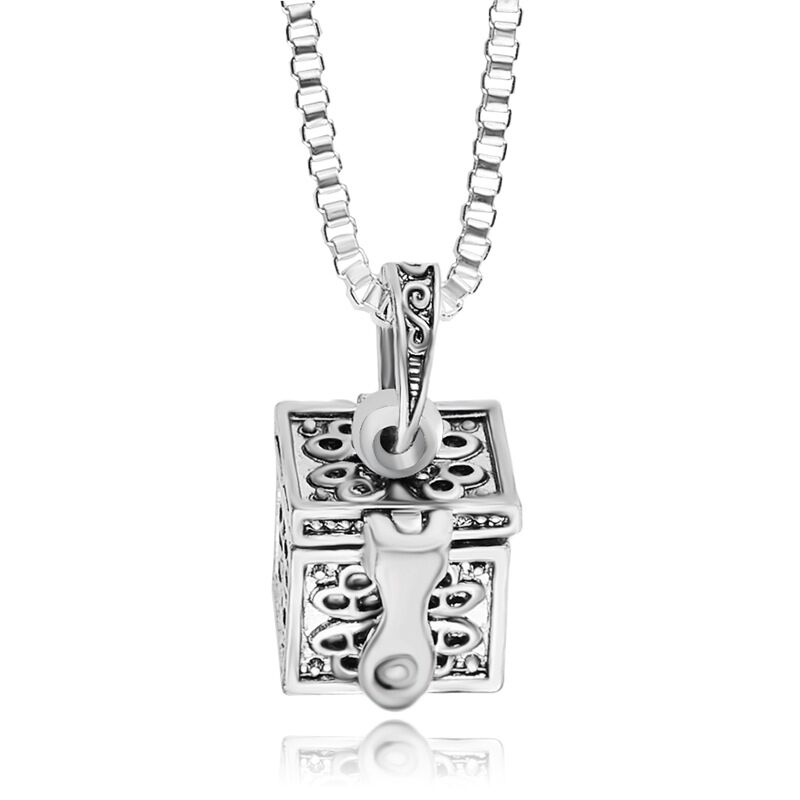 wholesale 24 alloy box can be opened To commemorate Loved ones Sweetheart pet You can carry Cinerary casket Box pendant necklace(China (Mainland))