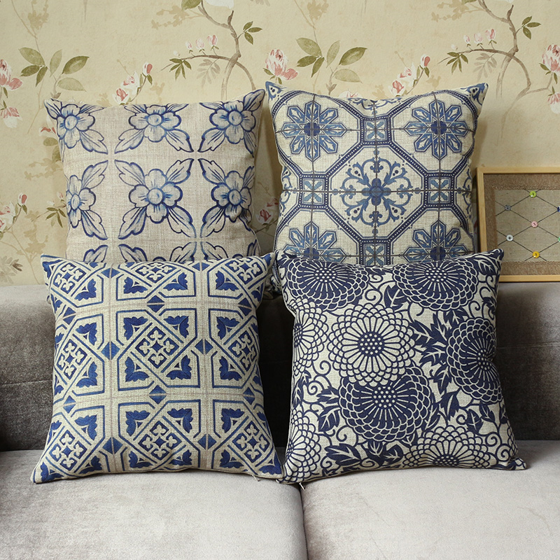 Linen Cotton Traditional Chinese Blue Sofa Cushion Cover Universal Home Decoration Bedding Pillow Case Car Seat