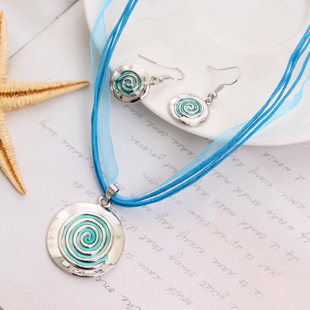 Горячая распродажа комплект ювелирных изделий синий веревка Chian круглый подвески ...