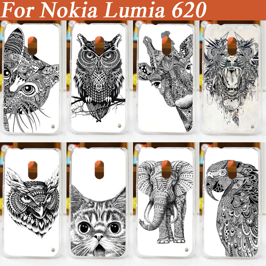 fashion 3d painted 5 patterns white and black animals Cover Case FOR Nokia Lumia 620/ diy Colored case for nokia 620(China (Mainland))