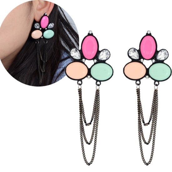 NEW Fashion Women Punk Black Long Chain Link Dangle Multicolor Flower Drop Earrings(China (Mainland))