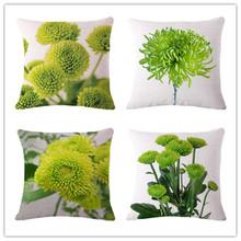 European Style Cotton Linen Cushion Plant Print Throw Pillowcase