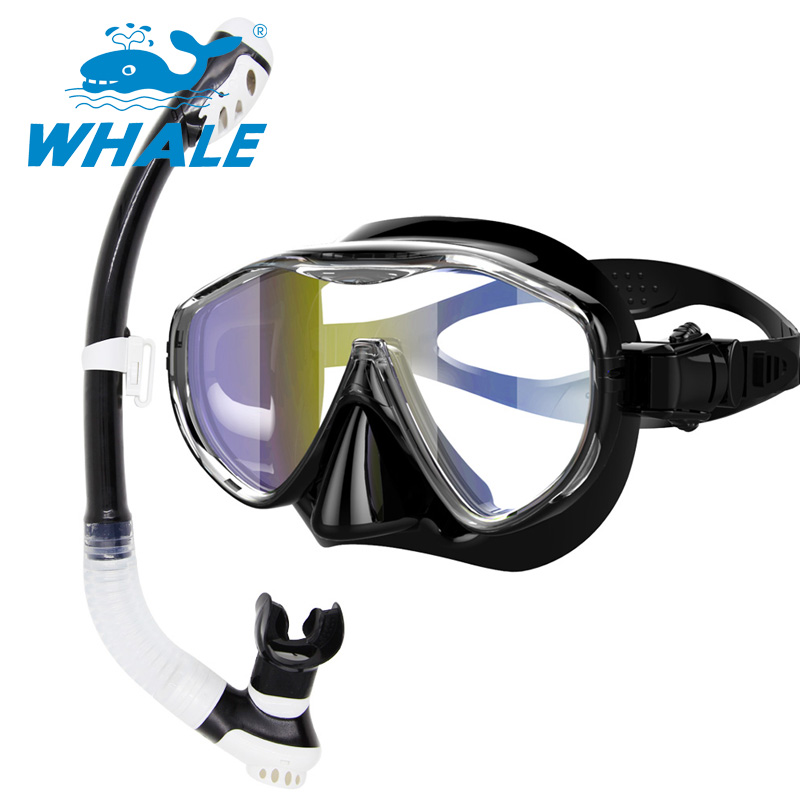 Whale Professional Brand Scuba Diving Electroplate Mask Diving Mask Snorkel Set Swim Equipment Adults Diving Tube Swimming Scuba(China (Mainland))