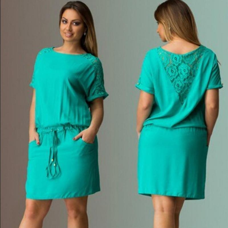 Plus Size Women Ladies Casual Dress Short Sleeve Lace Floral Back Short Dress X16(China (Mainland))