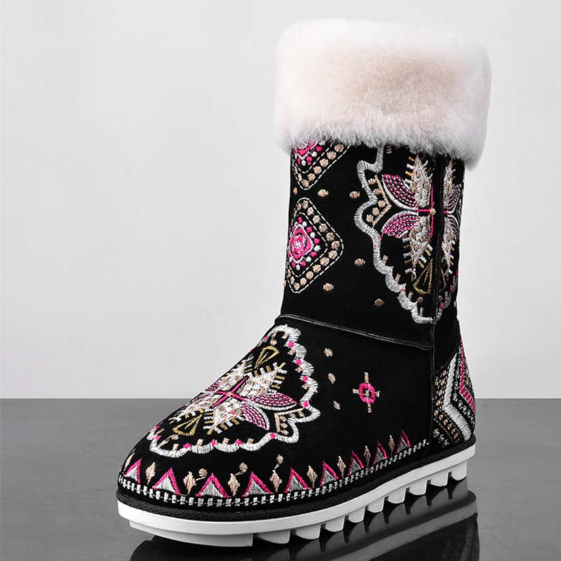 Embroidery Women Flats Shoes Women Round Toe Snow Boots Winter Full Grain Leather Black Ankle Boots Motorcycle Sale Hot<br><br>Aliexpress