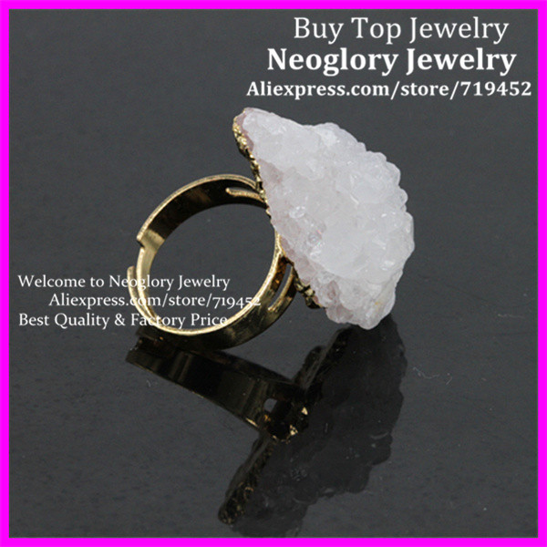 5PCS Fashion Natural White Druzy Stone Rings Drusy Quartz Rings,Coral Shape Druzy Agate Ring, In 24Kt Gold Women Adjustable Ring(China (Mainland))