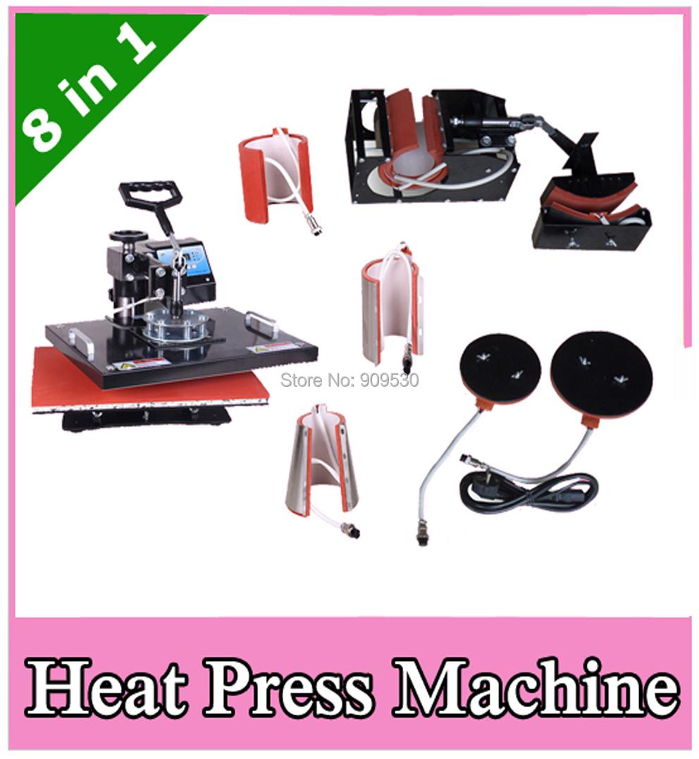 Combo heat transfer equipment 8 in 1 for mug cap plate T-shirt printing machine DX801(China (Mainland))