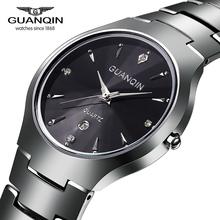 Luxury Brand GUANQIN Tungsten Steel Quartz Watches Fashion Silver Rose Gold Watches Men Women Wristwatches Relogios  Relojes