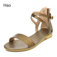 2016 New Arrival Hot Sale Women Sandals Genuine Leather Casual Ankle Strap Flat With Leisure Solid Flat Lady Shoes