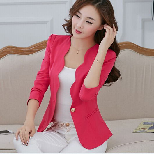 New Fashion 2016 Spring autumn Women Suit Jacket Coat Solid color slim OL ladies work wear blazer feminino chaquetas mujer J1421(China (Mainland))