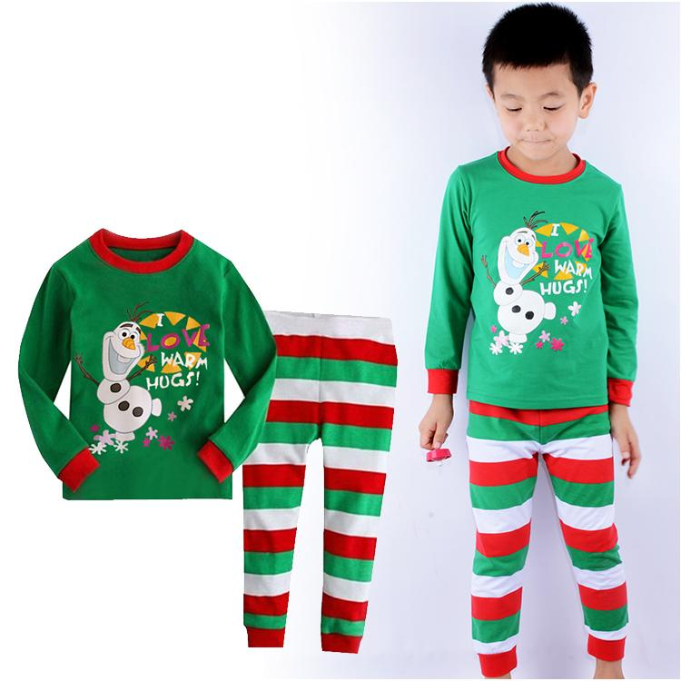 Cute 3D Snowman Olaf Print Unisex Boys Clothing Sets Long Sleeve Tops T-shirt Pants Baby Girls Pajamas Kids Children Sleepwear(China (Mainland))