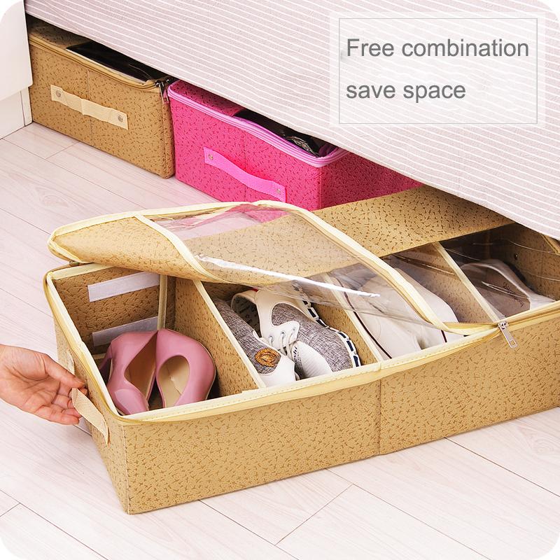 2017 New 4 pcs Shoes Storage Box Non Woven Fabric Waterproof Folding Shoe Holder Dustproof Shoe Organizer Shoe Storage Box 64056(China (Mainland))