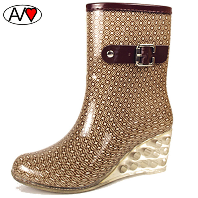Горячая Высокое Качество Женская Клинья Водную Обувь 2016 Платформа Leopard Резиновая Женщин Дождя Обувь B052605