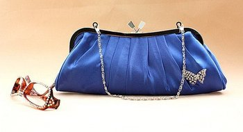 New! Blue satin evening purse,Bowknot wedding bag,V beaded evening bag with chain,clutch handbags+Free Shipping