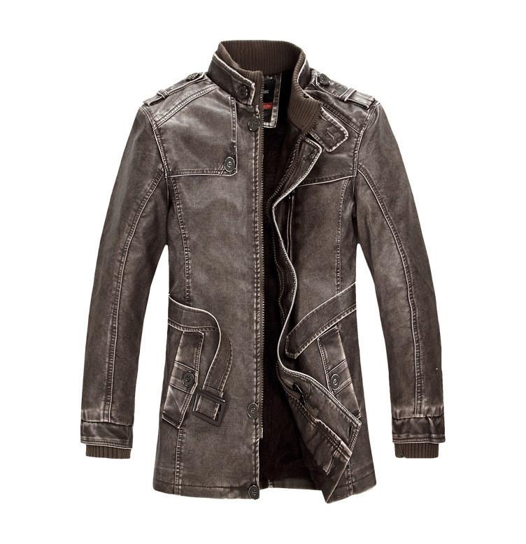 Winter new retro fashion men jacket, plus velvet leather coat free shipping(China (Mainland))