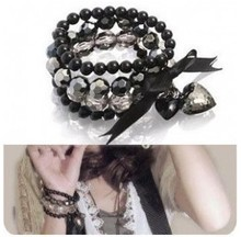 Min. order $9(can mix different goods) Black Peach Heart Bowknot Beaded Ribbon Multi-layer Bracelet Jewelry Women(China (Mainland))
