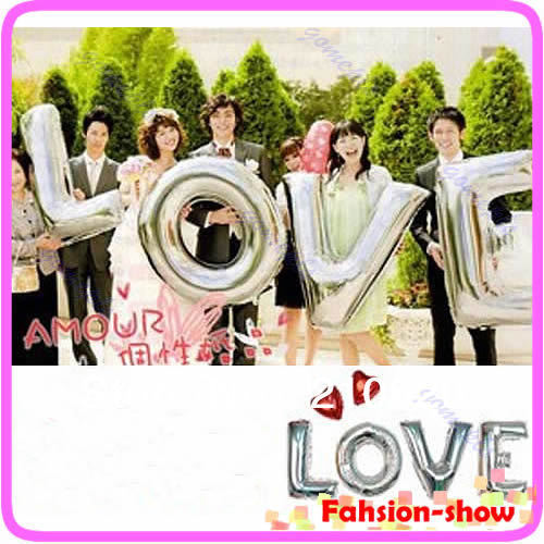 "On Sale! 4pcs/set For Wedding, Festival Supply New Decoration Mylar Foil Balloon Large Letter ""LOVE"" Full Alphabet Silver(China (Mainland))"
