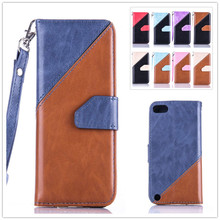 Luxury Mixed Colors Lanyard Leather Wallet Flip Case Cover For Apple iPod Touch 5 6 Touch5 Touch6 Mobile Phone Cases Coque