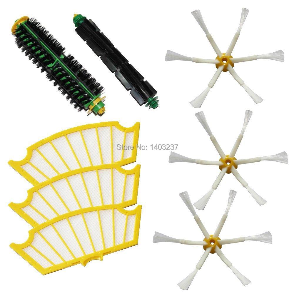 Bristle Brush Flexible Beater Brush Side Brush 6-Armed Filters Pack Kit for iRobot Roomba 500 Series Roomba 510, 530, 535 Etc.<br><br>Aliexpress