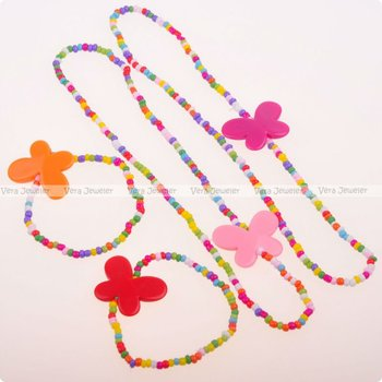 Kid Jewelry Girl's Accessories Butterfly Multi-colored Necklaces Bracelets Children's Jewellery Wholesale 24sets/Lot FKJ0002