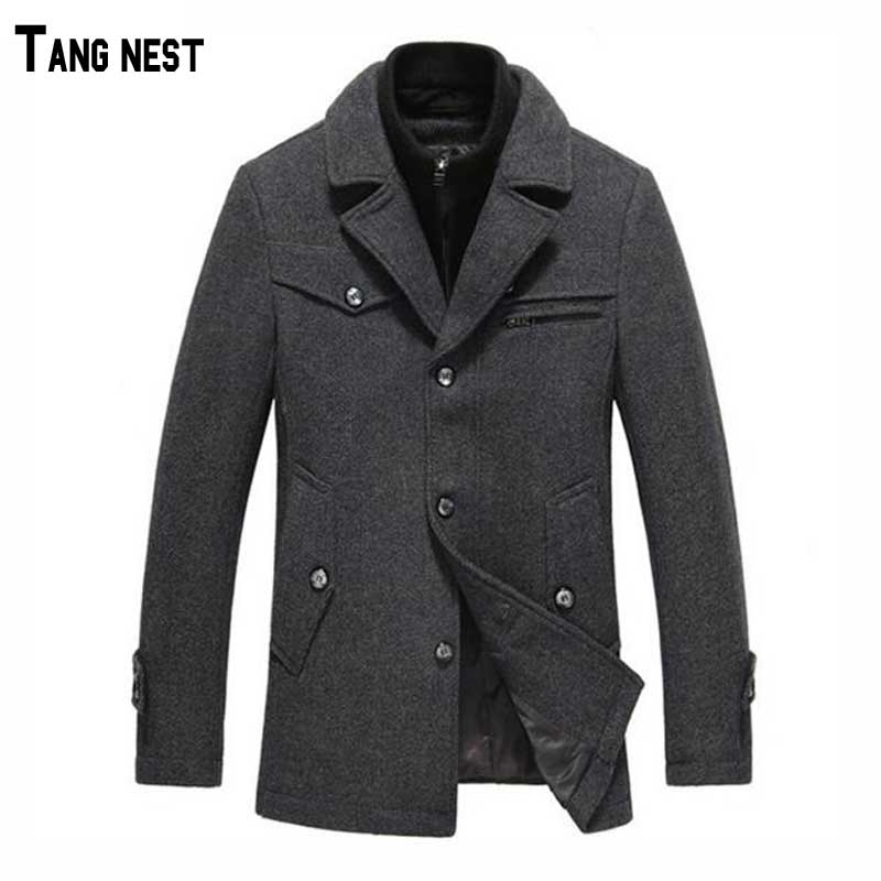 2015 New Fashion Winter Mens Casual Solid Long Thick Warm Wool Mens Woolen Coat Blends MWN156Одежда и ак�е��уары<br><br><br>Aliexpress