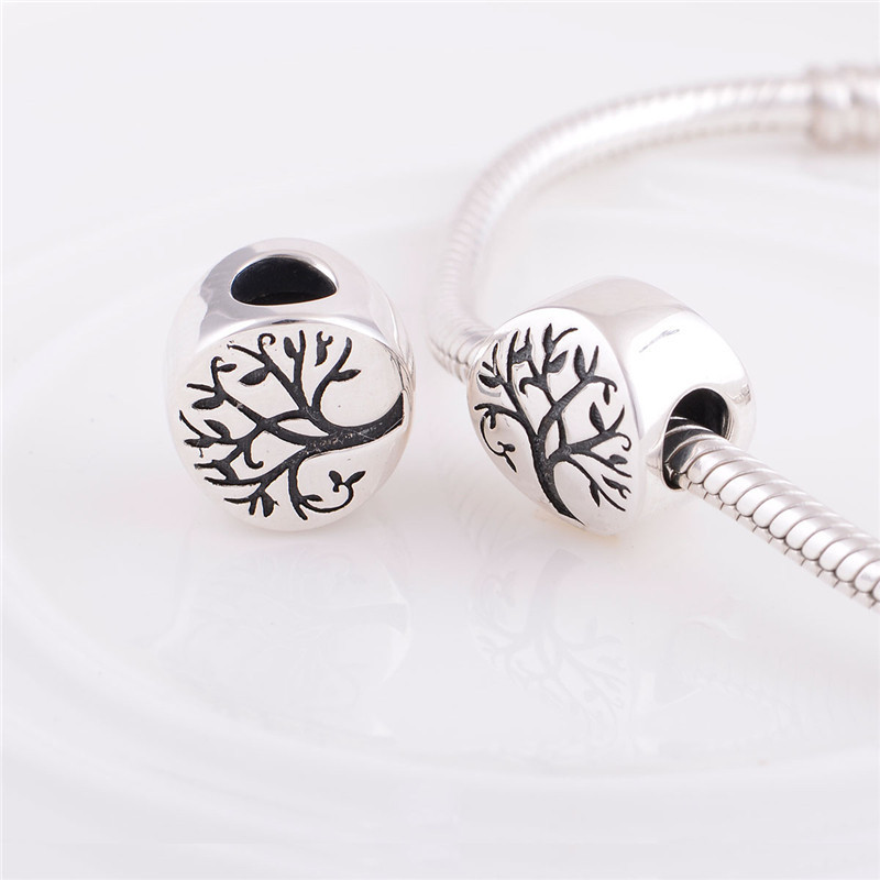 925 Sterling Silver jewelry Tree real silver Beads S925 charm Fits Bracelet & Bangle diy fashion Christmas gift 2016 new(China (Mainland))