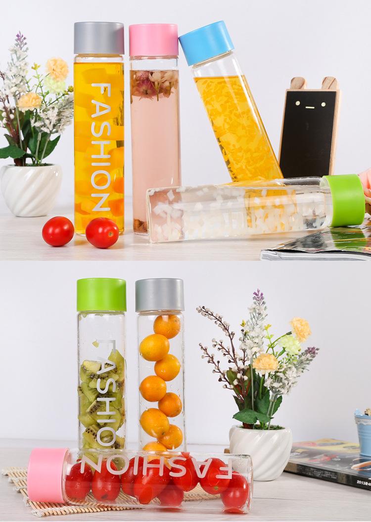 AE249 400ml Fruit Infusing Infuser Water Bottle Travel Mug Car Shatterproof Hand Portable Heat-resistantglass Water Bottle(China (Mainland))