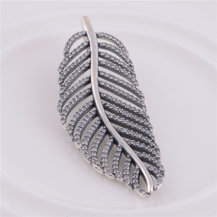 Genuine 925 Sterling Silver Feather Pendant Charm Bead without Chain Compatible with European Snake Chain Necklace Jewelry CB031<br><br>Aliexpress
