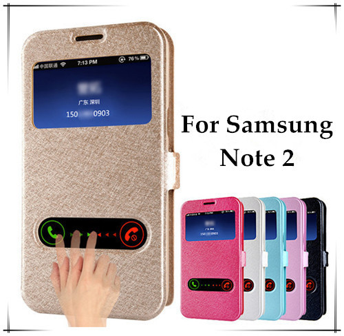 Luxury Windows Silk Pattern Flip Cover Case For Samsung Note 2 N7100 Case PU Leather Phone Bag Note2 With Stand Design Function(China (Mainland))
