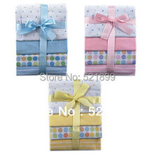 4pcs/lot Free Shipping USA Luvable Friends 4 Count  Baby newborn Flannel Receiving Blankets,(China (Mainland))