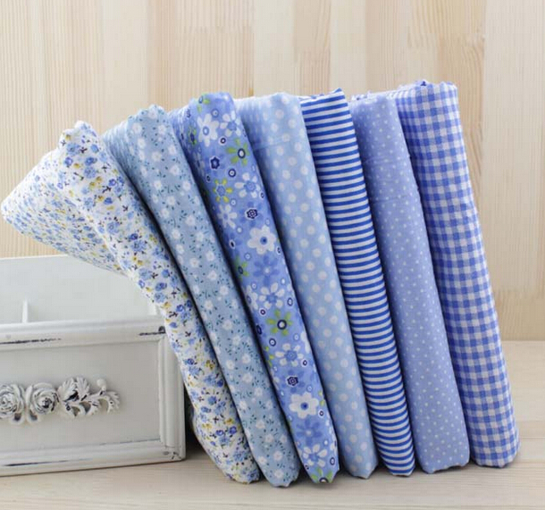7pcs/lots Blue Pre Cut Fabrics Textile Squares Cotton Knit Fabric for Patchwork Quilts(China (Mainland))