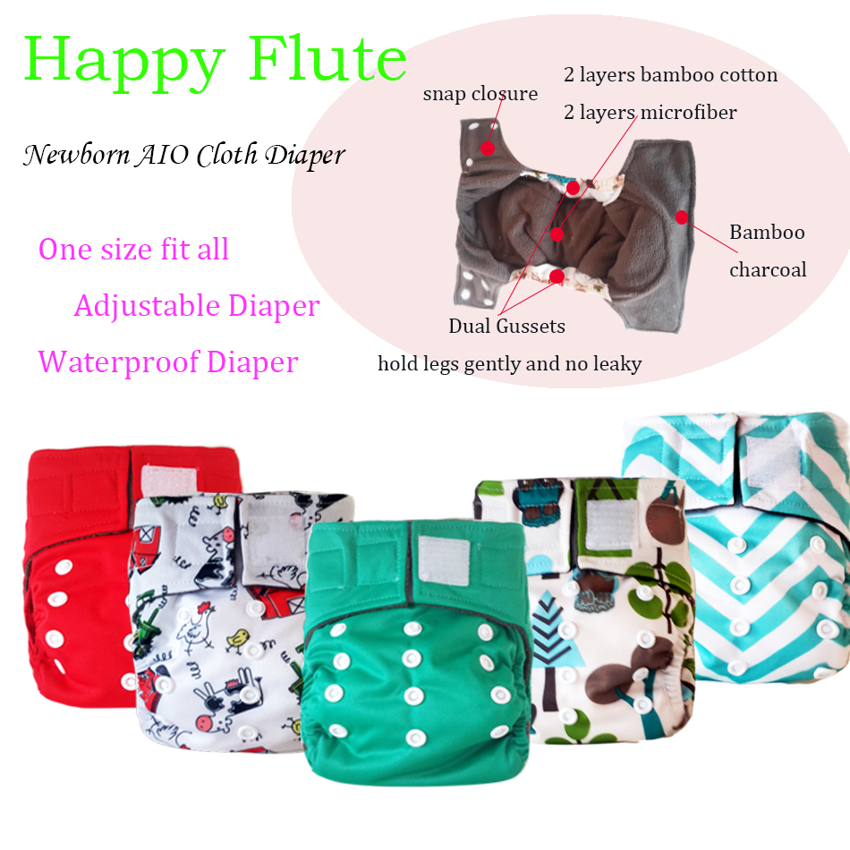 Happyflute Bamboo Charcoal  AIO Baby  Cloth Diaper 6 Pcs Packing With Free Shipping<br><br>Aliexpress