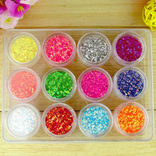 12FASHION COLORS HOLOGRAPHIC NEON IRIDESCENT GLITTER POTS FINE HIGH QUALITY NAIL BODY ART CRAFT(China (Mainland))