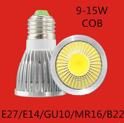 Free shipping 5PCS Dimmable gu10 / E27 / GU5.3 / E14 / B22 / MR16 / 9W 12W 15w LED COB AC110-220V High Power Led Light Bulbs(China (Mainland))