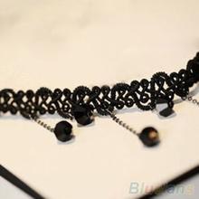 Women Black Beads Pendant Crystal Bib Chain Jewelry Collar Choker Necklace 1QGR