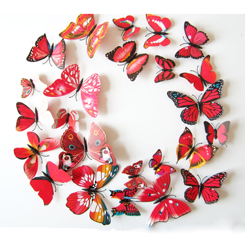 12pc Red 3D Butterflies Wall Sticker PVC Kids Rooms Home Decorative Wall Stickers Refrigerator Wallpaper Decals Wedding Adhesive(China (Mainland))