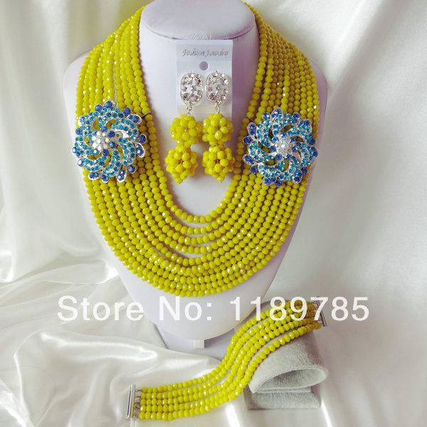 Fashion Nigerian African Wedding Beads Jewelry Set , Crystal Necklace Bracelet Earrings Set A-1796<br><br>Aliexpress