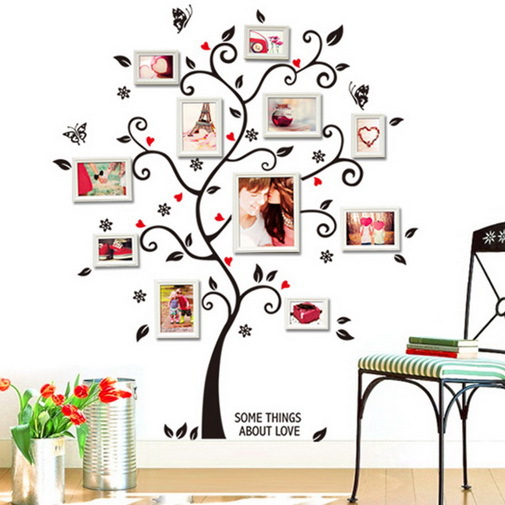 Hot Fashion Photo Wall Mural Switch Stickers Tree Flowers Home Decor Wall Stickers Room Decals 2015 Free Shipping(China (Mainland))