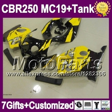 7gifts+Tank HONDA MC19 CBR250RR 86 87 yellow black 88 89 9*48 CBR250 RR CBR 250RR 1986 1987 1988 1989 factory blk Fairing - MotoParts store
