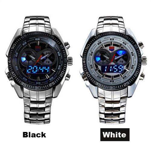 TVG Brand Luxury Stainless Steel Clock Digital Sports LED Watch Men 30M Dual Movements Waterproof Watches Relogio Masculino