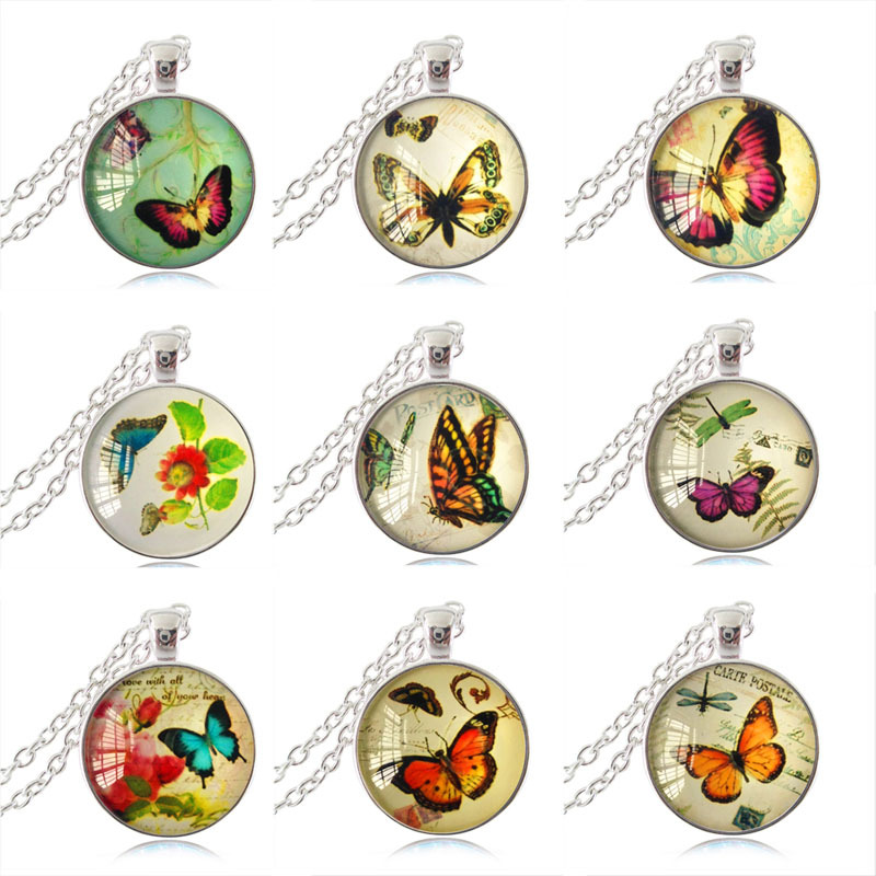 wholesale jewelry butterfly pendant silver necklace dragonfly jewelry glass cabochon necklaces animal cheap jewelry casual send(China (Mainland))
