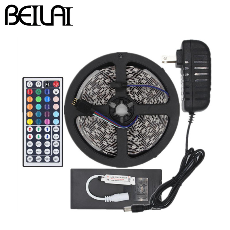 5050 Not Waterproof DC12V 5M 300LEDs RGB LED Strip Light Flexible Fita LED Light Ribbon Lamp + 44Key Controller 3A Power Supply(China (Mainland))