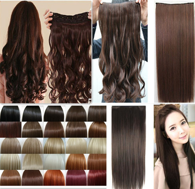 "17"" Curly/Wavy Long Clip in Hair Extensions 3/4 Full Head 5Clips on Hair Extentions Black Brown Blonde Auburn Red Hair Extension(China (Mainland))"